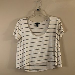 White/Black Striped Top - Forever 21 - Small